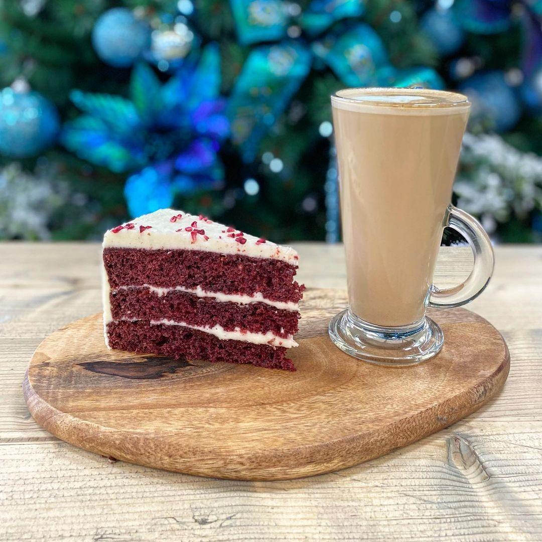 Velvet cake and a latte