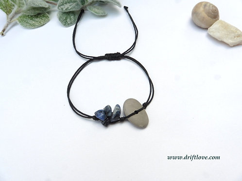 Grey Pebble and Sodalite Healing Bracelet/ Anklet