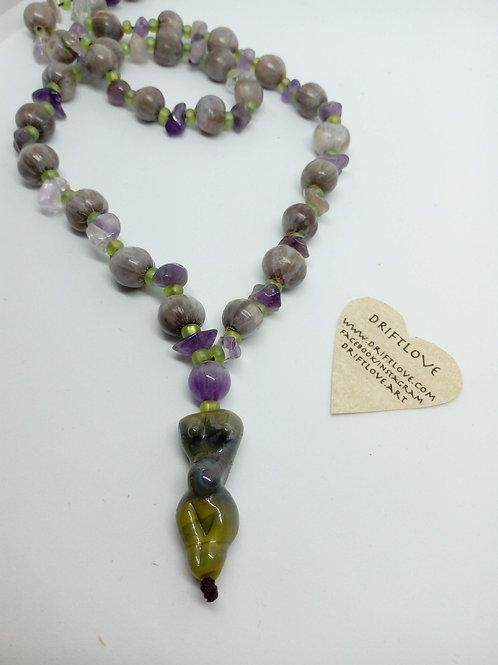 Amethyst Pregnant Goddess Necklace