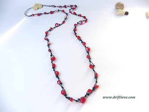 Red on Navy Blue Many Beads Long Necklace