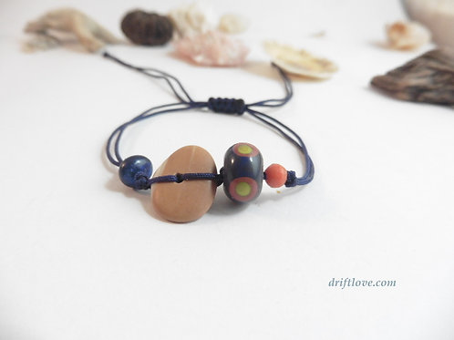 Navy Blue - Stone and Glass Simple Bracelet