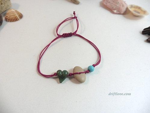 Green Heart Red Wine Simple Bracelet
