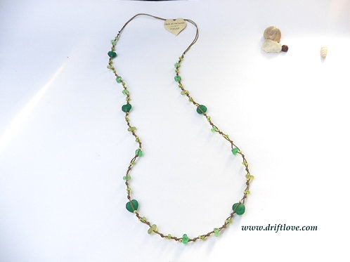 Green Hearts Many Beads Long Necklace