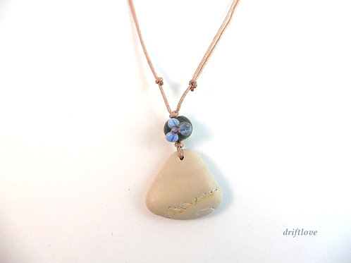 Blue Glass Flower and Pebble Necklace