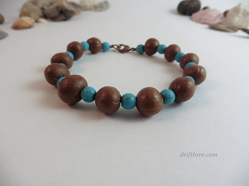 Seeds and Turquoise Bracelet