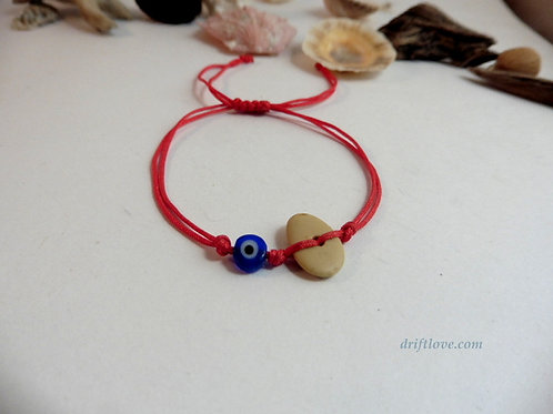 Red Blue Eye Stone and Glass Simple Bracelet