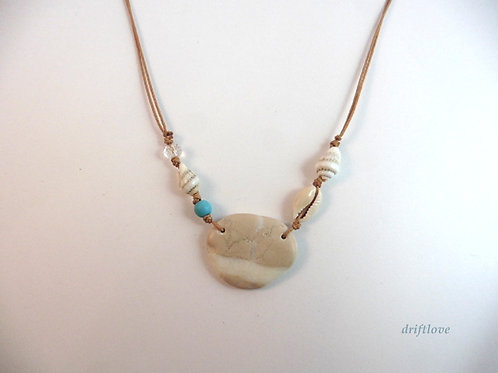 Pebble and Seashells on The Beach Necklace
