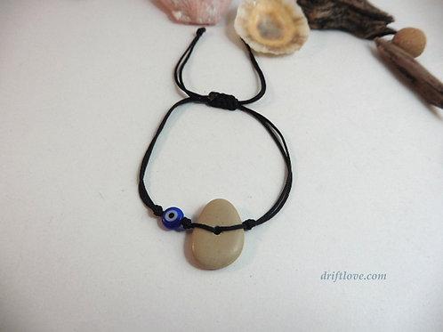 Black Blue Eye Stone and Glass Simple Bracelet