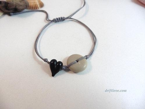 Black Heart Grey Simple Bracelet