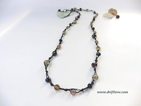 Dark Grey Many Beads Long Necklace