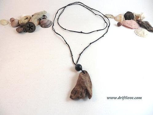 Driftwood Amulet with Black Stone Bead