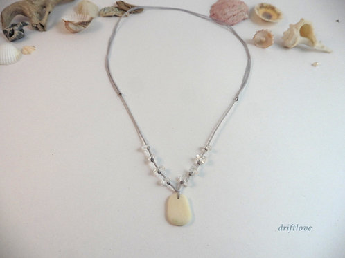 White Pebble and Quartz Necklace