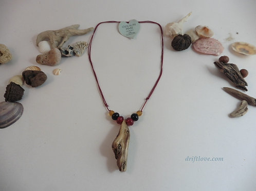 Driftwood Amulet with Red Beads
