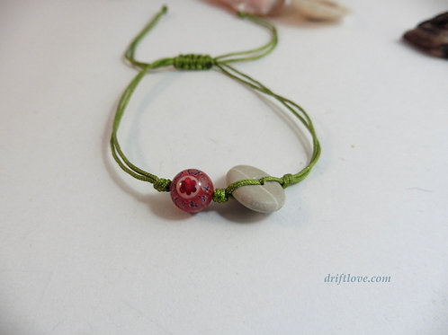 Green - Stone and Glass Simple Bracelet