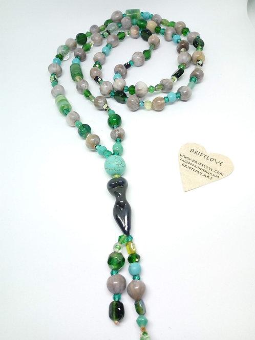 Slim Grey Goddess Green Necklace