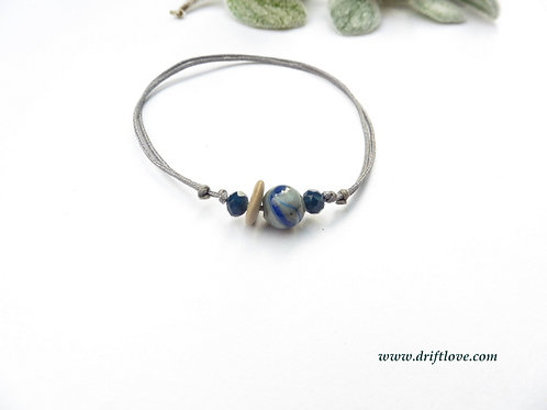 Blue Wave in Grey Bracelet/ Anklet