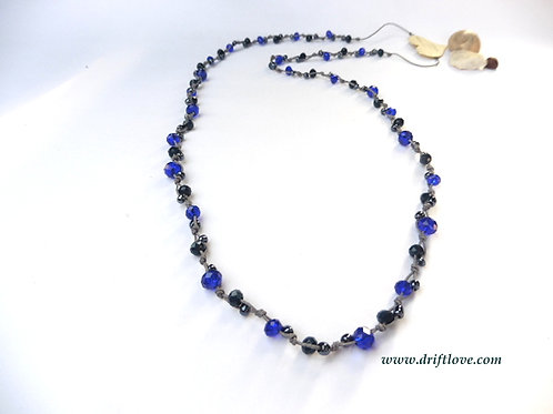 Grey Blue Many Beads Long Necklace