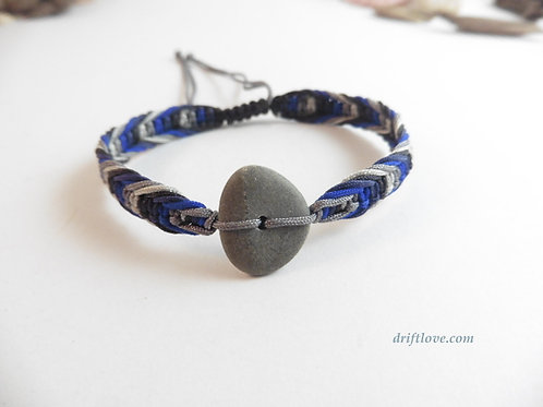 Pebble and Blue Macramé Bracelet