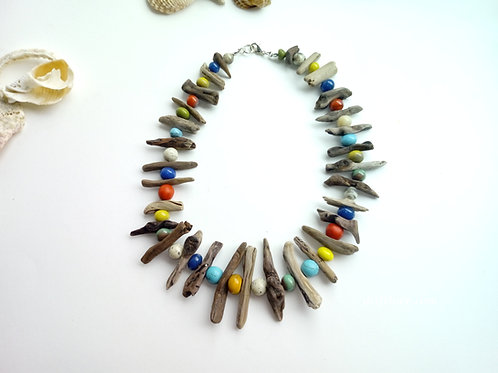 Colorful driftwood necklace