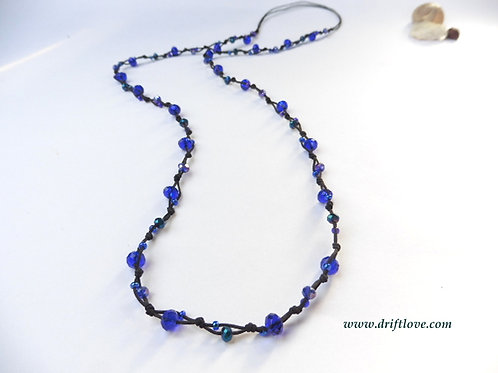 Blue Many Beads Long Necklace
