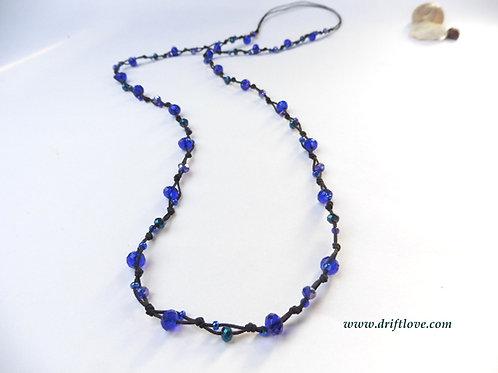 Blue Many Beads Long Necklace