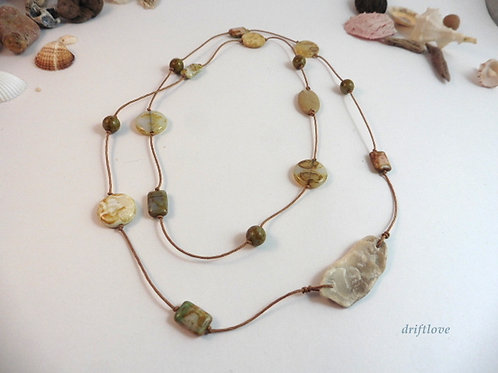 Long Nude Fossil Necklace