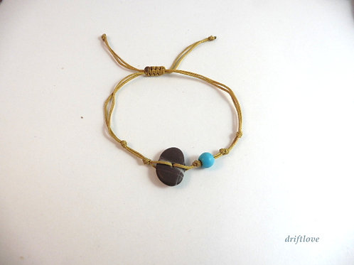 Golden Bracelet with Turquoise Beads and Pebble