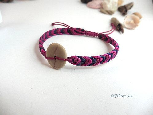 Red and Pink Macramé Bracelet