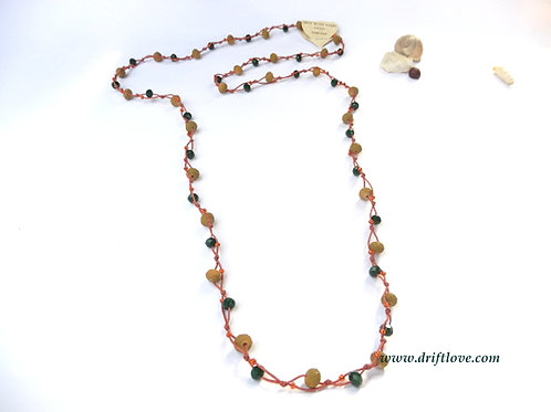 Orange Green Many Beads Long Necklace