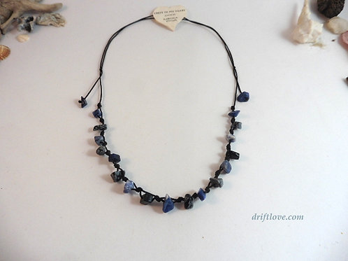 Sodalite and Snowflake Obsidian Necklace