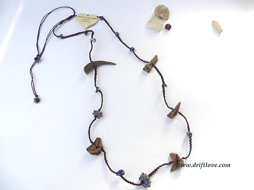 Wood And Sodalite Long Necklace