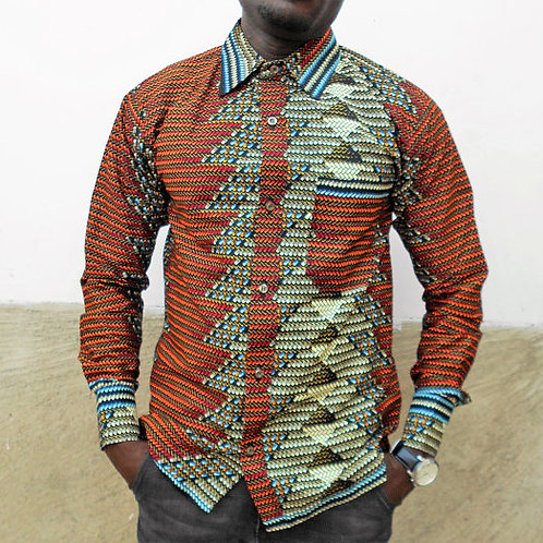 Men's Long Sleeve Ankara Shirt