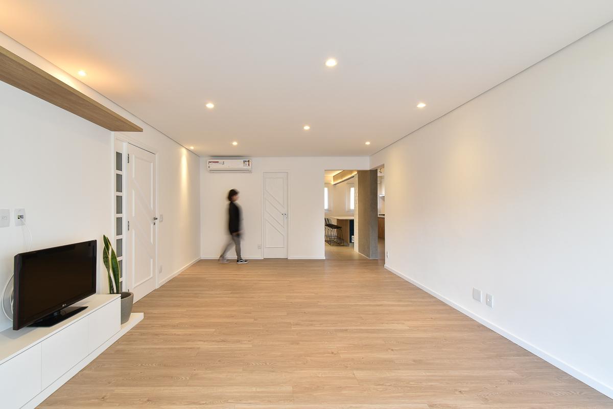 Sala integrada com a varanda