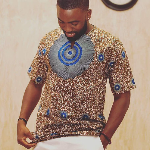 Men's Short Sleeve Ankara Shirt