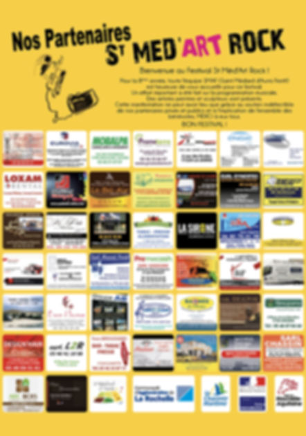 Partenaires et sponsors du festival St Med'Art Rock, spectacle musical et artistique qui aura lieu le samedi 10 juin 2017 à Saint-Médard d'Aunis, Charente-Maritime, France
