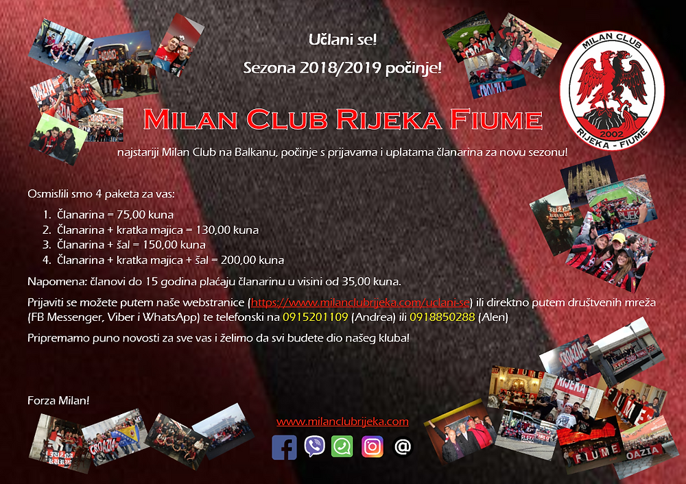 Milan Club RIjeka Fiume Sezona 18/19