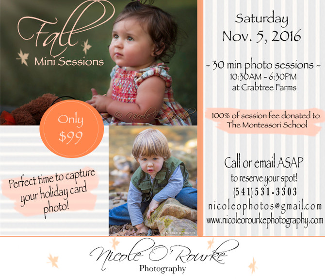 Fall Mini Sessions are here!!! 100% of session fee will be donated to The Montessori School of Chatt