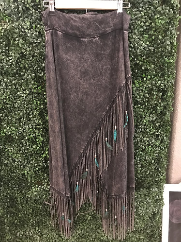 Fringe and Feather Skirt (2 Colors)