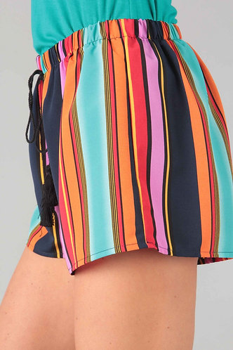 Multi Color Striped Shorts