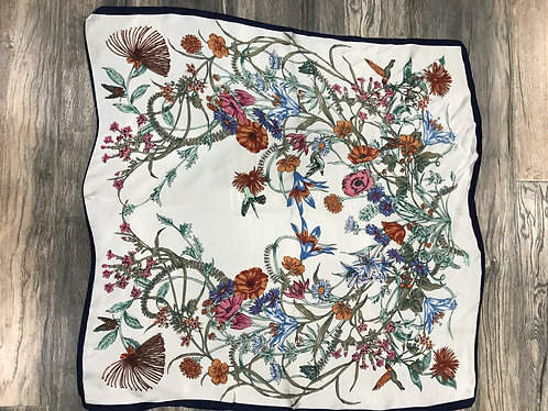 White Mystical Floral Scarf