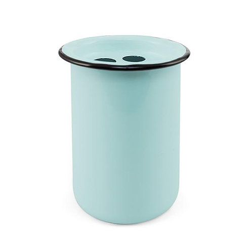 Farmhouse Blue/Aqua Enameled Metal Toothbrush Holder
