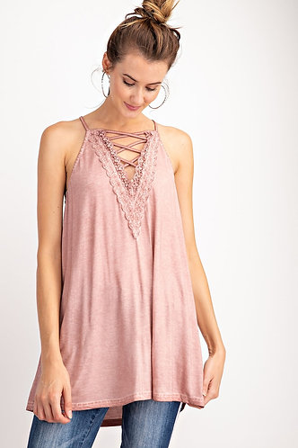 Lace Up Front Tank Muave