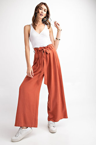 Rust Linen Flare Pants