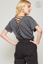 Lace Up Back Tee (Plus)