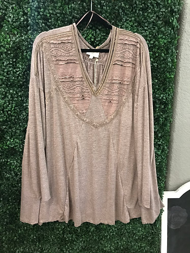 Lace Long SleeveTee (Plus)