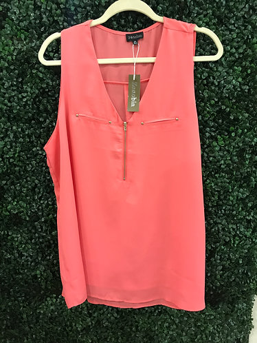 Coral Zip Up Plus Top