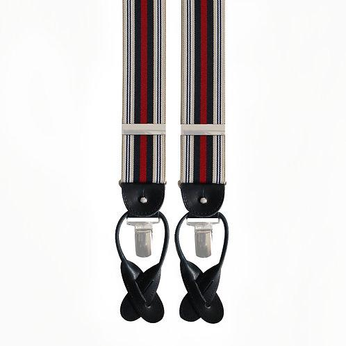 Beige, Navy & Red striped 2in1 Elastic Braces