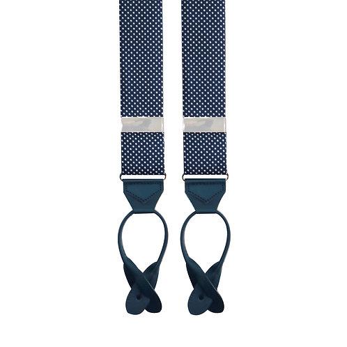 Navy & White Dots Tubed Braces