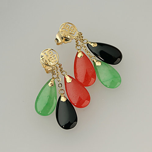 MULTI COLOR JADE EARRING 12