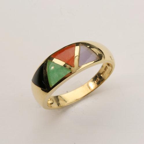 MULTI-COLOR JADE RING